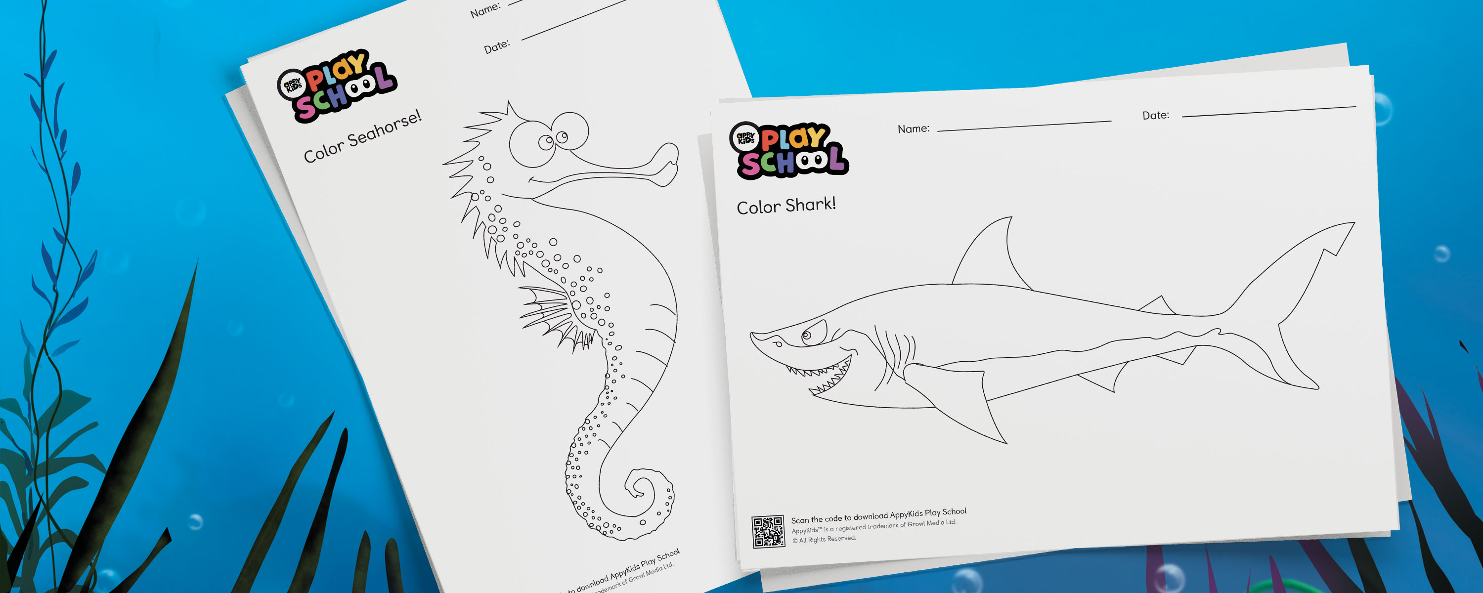 Colour Me Appy! Appy Oceans Colouring Sheets