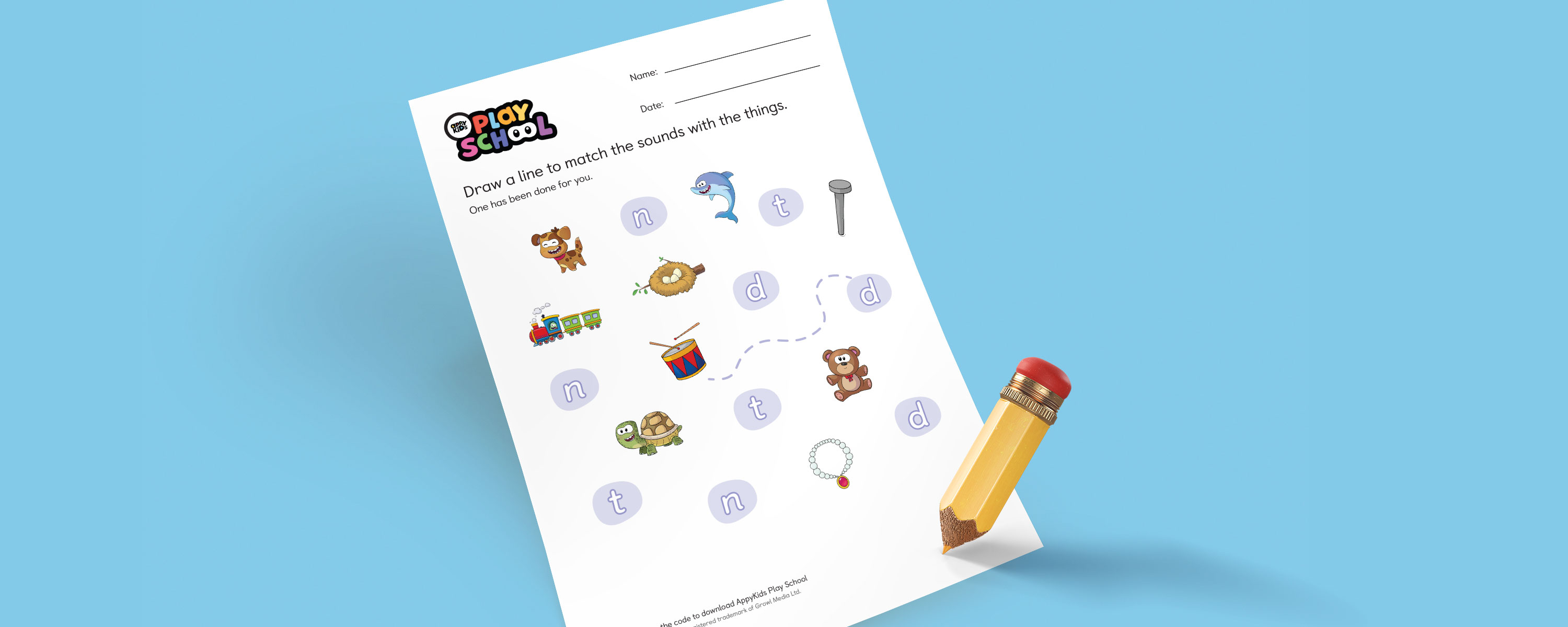 Draw a line to match the sound worksheet - N D T - AppyKids